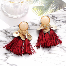 Wholesale Sequins Earrings - 7 Colors Bohemia Sequins Tassels Earring Fashion Earrings Luxury Designer Earring Designer Jewelry Big Hoop Earrings Mothers Day Gifts