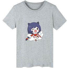 Wholesale Lol Shirts - Ahri t shirt The nine tailed fox short sleeve Lol game tees Leisure unisex clothing Black white grey cotton Tshirt