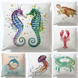 Wholesale fish squares - 39 style marine animal octopcs fish sea horse linen pillow soft cute pillows for home hotel pillowcover waist cushion pillow case