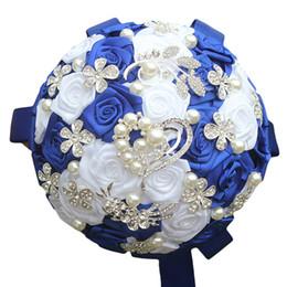 Bouquets de mariage personnalisés en Ligne-Jane Vini Bouquets de mariage en cristal bleu royal 2018 Brillant en forme de coeur strass perles artificielles mariées bouquet fleurs de mariage personnalisé