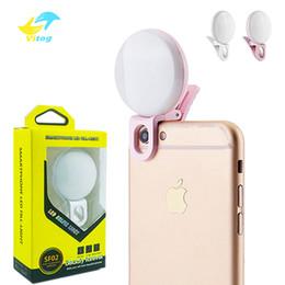 Filmati online-Universal LED Selfie Light Ring Light Videocamera portatile Fotografia Video Lighting Clip On Luce ricaricabile per iphone xs samsung