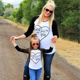 Wholesale Matching Family Clothes - Family Look Mommy and Me Clothes Fashion Mother Daughter Bestie T-shirt GOD GAVE ME YOU Family Matching Outfits