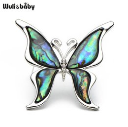 Wholesale Metal Dress Pins - Metal Natural Shell Butterfly Brooches Alloy Insect Animal Women Men Suits Dress Banquet Brooch Pins Fashion Hat Scarf Pins