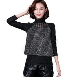 ce4d0b3d24b97a Autunno primavera nero manica lunga camicetta donna coreano netto filato  paillettes camicia a collo alto plus size donna top e camicette MY651