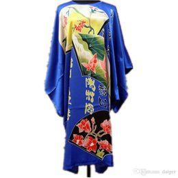 f833dab9ac Wholesale- Plus Size Blue Ladies Robe Summer Pajamas Chinese Women Rayon  Sleepwear Kimono Bath Gown Nightgown Kaftan Yukata One Size M01