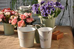 Wholesale Rustic Tins - Tin Flower Bucket Crafts Gardening Tin Barrel Wedding Photography European Retro Rustic Style Display Props Ornaments