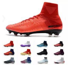 2018 Mercurial Superfly V FG Fire Red Negro Botas de fútbol para hombre Zapatos Mercurial Superfly V X Fire Hombre FG Fútbol Zapatos Soccer Cleats desde fabricantes