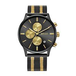 Sportivo sottile orologio online-BAOGELA Cronografo da uomo al quarzo-orologio cinturino in acciaio inossidabile con cinturino in pelle orologi da uomo slim multifunzione orologio sportivo da polso 161
