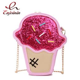Creme totes online-Netter Spaß-Eiscreme-Entwurf Pu-Leder-Pailletten-Stickerei-Damen-Kettengeldbeutel-beiläufige Schulter-Tasche Tote Crossbody Mini-Botetasche