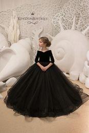 Wholesale portrait kid - Black 3 4 Long Sleeve Girls Pageant Dresses Ball Gown Velvet Tulle V-Neck Capped Sleeve Elegant Formal Kids Evening Gowns for Prom Party