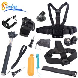 Wholesale Gopro Mount Accessories - SINDAX Accessories Set for Go pro Monopod Tripod Mount Adapter Chest Belt Head Strap Mount for Gopro Camera