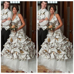 Wholesale Back Up Online - 2018 Vintage A Line Camouflage Wedding Dresses White Camo Lace Up Back Bridal Gowns New Draped Plus Size Custom Online Vestidos De Novia