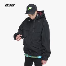 куртка вишоу Скидка VIISHOW Men Jacket 100% cotton 2018 New Coat Fashion male hooded Trench  Casual Loose Tooling cargo Jacket JC1943183