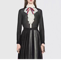 Черная рубашка с длинным рукавом онлайн-2018 черный дизайнер Женские рубашки высокого класса отворот шеи длинными рукавами кнопка лук женские блузки 90708