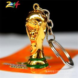 Wholesale hockey supplies - 2018 russia Trophy Key Buckle Exquisite Mini Keys Ring Football Game Fan Supplies High Quality World Cup Gift