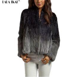 Wholesale women outwear fur rabbit - Women Fur Coats Natural Rabbit Fur Outwear Winter Warm Jacket Long Sleeves Gradual Change Colors Coats Female Overcoat SWQ0251-4