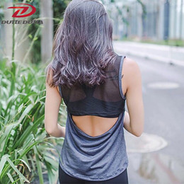 Wholesale Mesh Gym Tank - DutteDutta Sexy Mesh Women Yoga Top Sport T Shirt Quick Dry Hollow Out Fitness Tank Top Yoga Shirts Gym Running Sports Jerseys