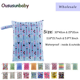 wetting diaper Coupons - Ousunbaby 80pcs 30*40cm & 15*20cm Baby Cloth Diaper Bag Print Waterproof Wet Bag Swim Sport Travel Carry Insert Dry Wet