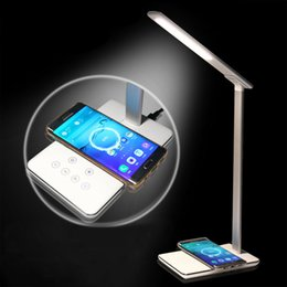 Wholesale Apple Lighting Usb - LED Desk Lights Table lamps Folding Eye-friendly 4 Light Color Temperature Book Light with Wireless Desktop Charger USB charging OTH848