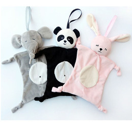 Wholesale baby panda toy - 28cm Appease Towel Baby Toy INS Explosion Models Bibs Can Chew Toy Baby Doll Panda Rabbit Elephant monkey Children Plaything 4 styles C4337