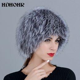 2019 venda de chapéus de peles HDHOHR 2018 Venda Quente 100% Real Prata Fox Fur Hat Mulheres Real Todo o Cap Pele De Raposa De Malha Chapéus Femininos Grossos Chapéus de Chapelaria Quente venda de chapéus de peles barato
