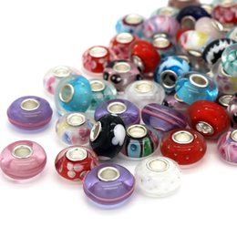 Alta qualità colorata smalto 8 * 14mm grande foro perline di vetro misura gioielli braccialetto di fascino fai da te perline distanziali sciolti rotondi da