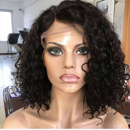 Wholesale Water Wave Human Lace Wig - water wave curly Bob Human Hair Full Lace Wig curly Lace Front Wig Swiss Lace Brazilian virgin wavy Human Hair Wigs
