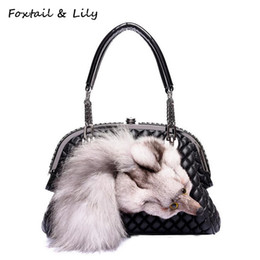 Wholesale fox shell - Foxtail & Lily Genuine Fox Fur Bag for Women Quilted Chain Bag Real Leather Sheepskin Shoulder Crossbody Handbags Designer