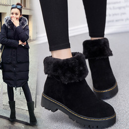 Wholesale Korean Red Tube - 2018 new snow boots female Korean version rough and turn over fur female boots big cotton warm and low tube Martin boots femal T151