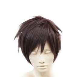 Мужские парики косплей онлайн-Короткие мужчины / Мужской коричневый короткие прямые аниме мода косплей партии полный парик волос