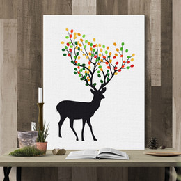 Wholesale Personalized Picture Canvas - MYT 1 Piece Tree Fingerprint Canvas Painting Personalized Design DIY Guestbook Picture Wedding Event Party Wall Decor