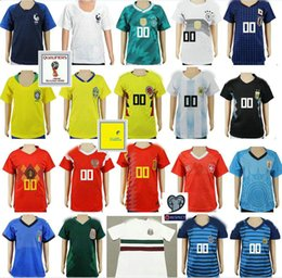 Wholesale Army Kid - Kids Soccer Jersey Colombia Mexico Brazil Argentina Belgium Spain Japan Germany Russia Uruguay Sweden France Custom Youth Football Shirt