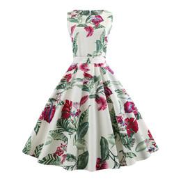2018 coton vintage style preppy bureau dame femmes mignonnes robes trompette A-ligne Floral Zipper Print Girl élégante robe rouge femme ? partir de fabricateur