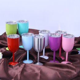 Wholesale Cast Double - 2018 hot 10oz Stainless Steel Wine Glasses Double Wall Vacuum Insulated wine Goblet with lid pink mint red