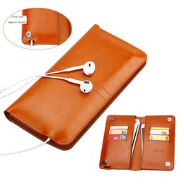 Wholesale Universal Smartphone Wallet Case - Refunney Universal Smartphone Wallet Case For Iphone X 10 Iphone 8 Plus 7 7plus 6s 6 6plus Magnetic Luxury Leather Pouch
