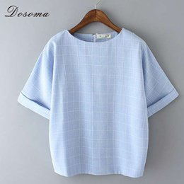 Wholesale Linen Shirt Colors - Pliad Summer t-shirt Women Top Tees Loose Candy Colors Big Size t Shirt Retro Korean Style Linen t-shirt Women Tops for Girl