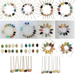 Wholesale Bright Christmas - Silver Gold Plating Kendra Druzy Drusy Necklace Bright Earrings Scott Silver Gold Plated Geometry Stone Resin Necklaces Christmas gift