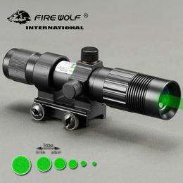 jagd-taschenlampen Rabatt Feuer WOLF Taktische Optik Jagd Grün Laser Taschenlampe Designator Nachtsicht mit Fernschalter RifleScope Ring