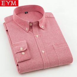 оксфорд рубашки стиль мужчины Скидка Eym Бренд Мужские Повседневные Рубашки 2018 Весна Новый Сплошной Белый Рубашка Мужчины Оксфорд Платье Рубашка Молодежный Стиль Плюс Размер Мужской Рубашки Одежда
