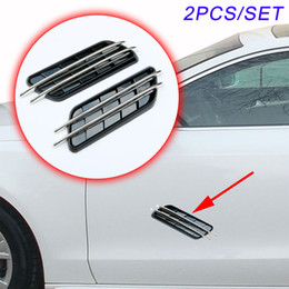 Écoulement d'air de voiture en Ligne-2 pcs Universal Car Vehicle Accessoires Chrome Porte De Voiture Côté Bord Fender Décorer Simulation Flow Air Vent Decal Strip Moulding