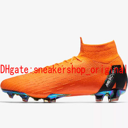 Wholesale Elite Football Boots - 2018 top quality mens soccer cleats MERCURIAL SUPERFLY 360 ELITE FG kids soccer shoes boys football boots high ankle scarpe da calcio red