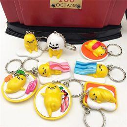 Wholesale Egg Keychain - LilyToyFirm 8Pcs Set Gudetama Yellow Egg Lazy Gudetama Keychain Pendants PVC Action Figure Toys Gudetama Keyring