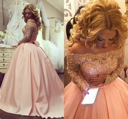 Wholesale Navy Ribbon Bow - 2018 Plus Size Ball Gown Prom Dresses Bateau Neck Long Sleeves Crystal Appliques Satin Blush Pink Off Shoulder Sparkly Party Evening Gowns