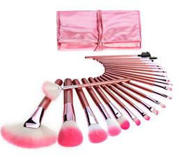 Профессиональные макияж кисти козьи волосы онлайн-Горячие новые кисти для макияжа кисти для макияжа 22 шт. Профессиональные наборы кистей Козья шерсть Розовый DHL доставка + подарок