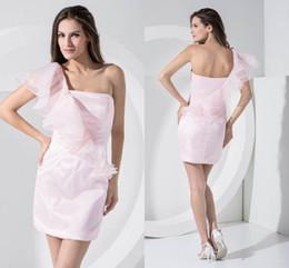 Canada Rose une épaule volants plis pure pas cher robes de demoiselle d'honneur courtes formelle demoiselle d'honneur robes de mariage robes invité WD1-005 Offre