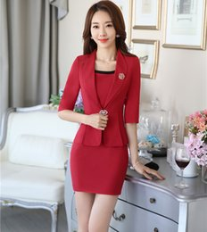 Wholesale Work Jacket Dress - New Formal OL Styles Professional Spring Autumn Business Women Work Wear Suits Jackets And Dress Office Ladies Blazers Outfits