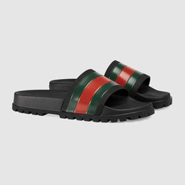 Sandalias de mujer online-Designer Men Women Sandals Luxury Slide Summer Fashion Cutting-edge Slipper Sandals Slipper With Box Red Green Stripes Rubber Flip Flop