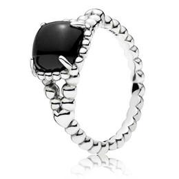 Charme spirituel en Ligne-925 Sterling Silver Noir Vibrant Esprit Anneau Fit Pandora Charme Bijoux De Fiançailles Amoureux De Mariage Anneau De Mode Pour Femmes