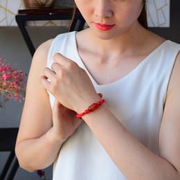 кольца браслеты фарфор Скидка Ручной тканью красная веревка мужчины и женщины модели натуральный красный агат бисера строка одно кольцо браслет моды Кристалл браслет в Китае