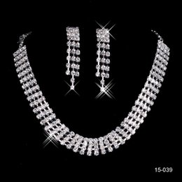 2018 New Jewelry Necklace Earring Set Cheap Wedding Bridal Prom Cocktail Evening Dresses Rhinestone 15039 In Stock Free Shipping